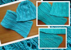 комплект шапочка и шарф - ручная работа