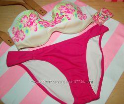 Купальник Victorias Secret bandeau push-up розовые цветы 34СМ