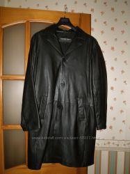 Классный мужской кожаный плащ-френч