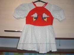 Белое платье в черный горошек на 12-18мес. хлопок