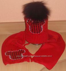 Эксклюзивные комплекты -  шапочки для девочек