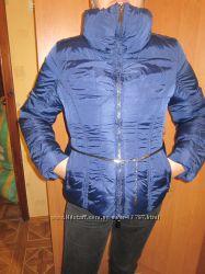 Новый красивый синий пуховик Италия пух-перо 48 размер