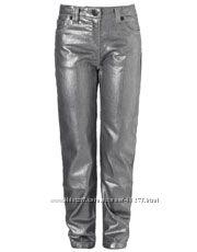 Хлопковые джинсики в серебристом цвете 12-13 лет