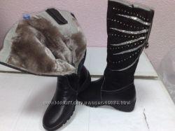 распродажа зимних кожаных сапог для девочек, р.  32
