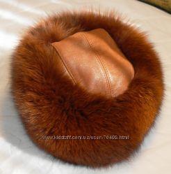 шапка  из песца с кожаным донышком