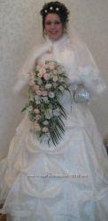 Свадебное платье, накидка, фата, перчатки