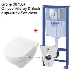 Унитаз подвесной O. Novo Villeroy&Boch  Инсталляция Grohe