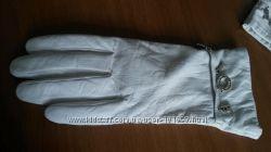 белые кожаные перчатки на подкладке из шерсти, Rodrigo  Италия, 6 размер