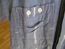 рубашка  джинсовая с коротким рукавом на 128-134
