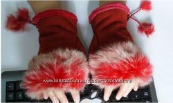 Красные Митенки с мехом кролика по закупочной цене