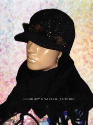 Новая теплая шапка с козырьком и шарф - шерсть с ангорой