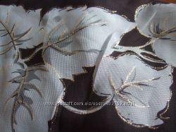 новый черный платок з золотыми листьями