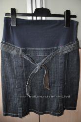 Удобная джинсовая юбка с трикотажным поясом Mothercare р. 8
