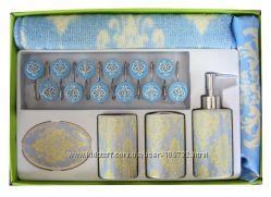 Наборы в Ванную комнату Шторка, коврик, мыльницы, стаканчики