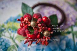 Резинки для волос с ягодами - hand made