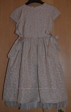 Платье для девочки нарядное летнее 7-8 лет бежевый бледно розовый хлопок
