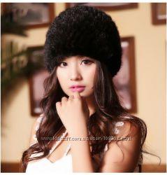 Натуральный мех норки кролик красивая и стильная шапка