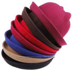 Очень стильная шляпка кепка с ушками, фетр, экосолома