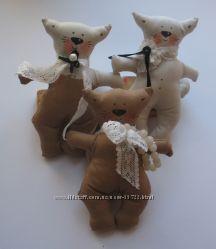 мягкие тильда котики, зайчики и медвежата