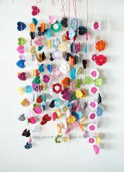 Вязаные крючком цветы, сердечки, цветочные гирлянды для декора