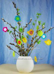 Украшаем дом к Пасхе, вязаные цветы, птички, яички