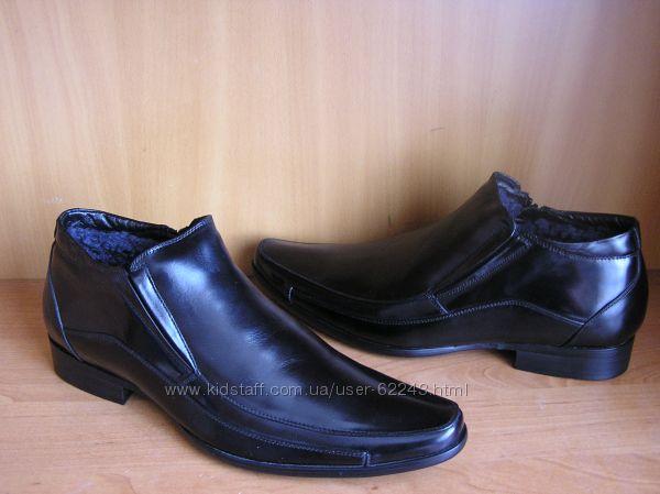 Зимние кожаные ботинки на цигейке 40