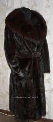 Норковое пальто . Воротник  Баргузинский соболь