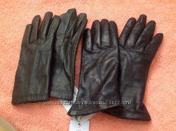Перчатки р. 7 кожа темнозеленые новые