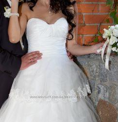 Шикарное свадебное платье, новая цена. Туфли. Балетки.