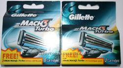 Cупер предложение Сменные лезвия GILLETTE mach3 Turbo 8 плюс 2. Оригинал