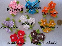 Розочки и цветы из атласных лент