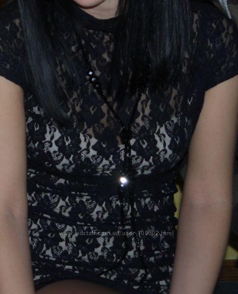 Гипюровое платье с горловиной, нарядное