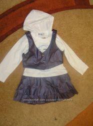 классный набор - платье и жилетка девочкам 95-116см