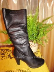 Суперовые кожаные сапоги на цигейке - недорого