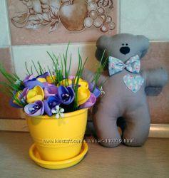 Интерьерные украшения-игрушки, мишки, зайчики, тильды