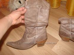 Класснючие кожаные сапоги вестерн, оригинал