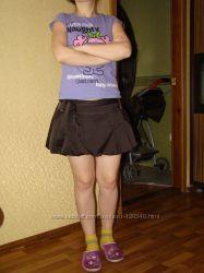 коротенькая юбка-фонарик, размер 44-46, цвет - шоколад, 4 кармана