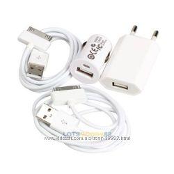 Зарядное устройство для Apple Iphone сетевое, автомобильное, 2 дата кабеля.