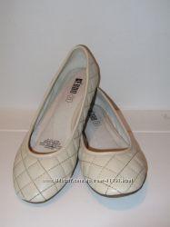 Стеганые балетки KEDDO жемчужного цвета, стелька 23 см