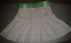 Белая юбочка хб GIRL2GIRL с пояском и стразами, р. 98