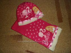 Шапка и шарфик Барби для девочки на 4-5 лет