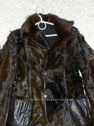 Пальто-пиджак двухсторонний - мех пони, замш и кожа