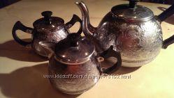 Чайный набор с советской символикой СССР, алюминий, Винаж.