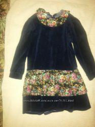 Платье синее велюровое с юбкой в цветы