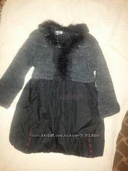 Платье серое теплое с люрексом на 5-6 лет
