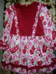 Платье красное вельветовое в цветы