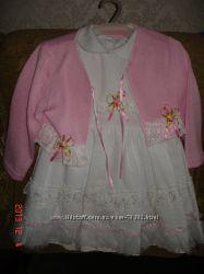 Комплект нарядный платье хлопковое с кофточкой трикотажной вязанной