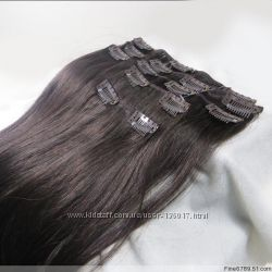 Натуральные волосы тресы на заколках 50см 75грамм