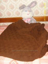 Очень теплое одеяло-плед, связанное спицами