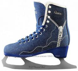 Стильные женские коньки СК FASHION LUX jeans blue. Размер 36, 37